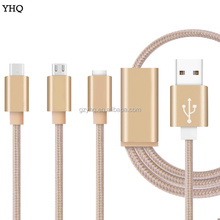High quality Nylon Braided 3 in 1 Cable Usb Charging For Micro ip7 Type C Cell Phone