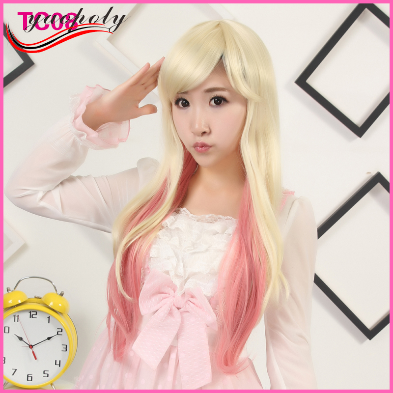 Cheap long curl oblique bangs women wigs white bleaching pink cosplay synthetic wigs for club