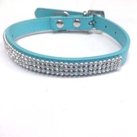 Factory wholesale summer style bling Rhinestone PU Leather Crystal Diamond Puppy Pet Dog Collars