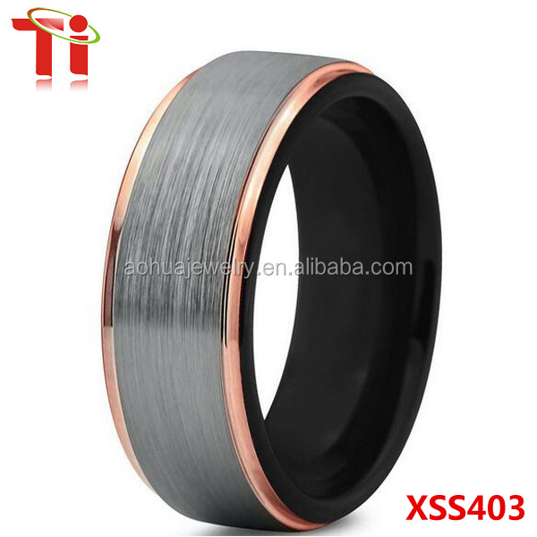 2017 fashion jewelry, men's tungsten carbide wedding ring with black&rose gold plated and silver brushed surface 8mm