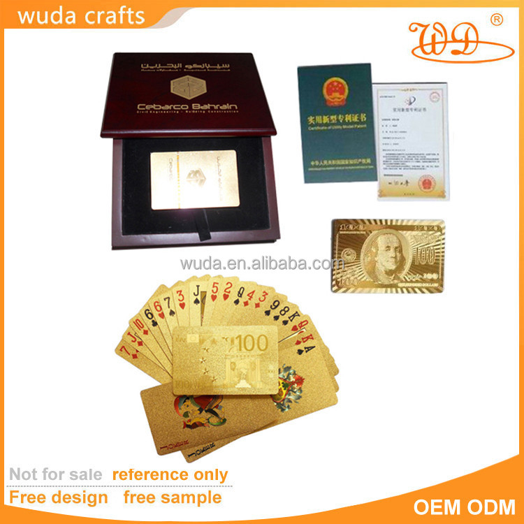 24k Gold Plated Playing Card Full Poker Deck 99.9% Pure 54 Card With 100 Euro Design
