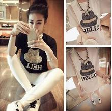 Newest style fashion print blouse fashion lace joint design ladies long t-shirt