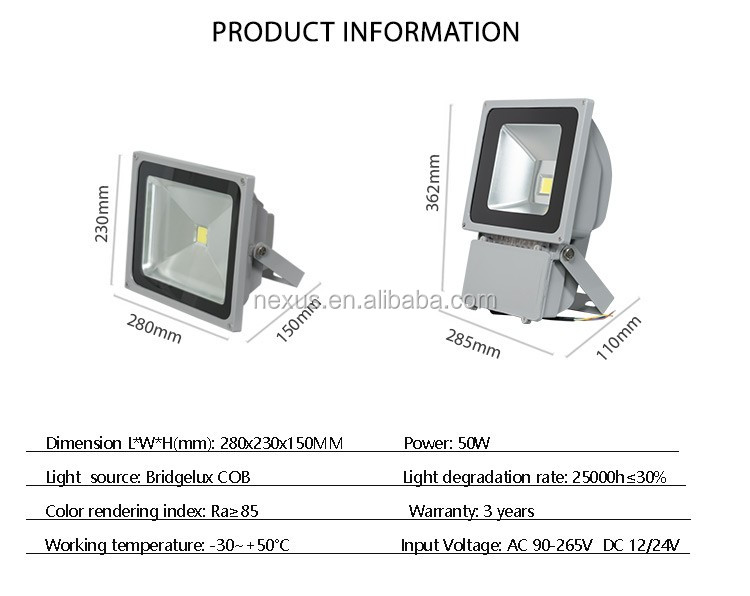Factory Price Outdoor IP65 50w LED Flood Light Housing