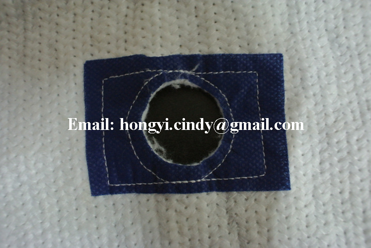 100%recycled cotton floor mop cloth with blue patch and hole in center