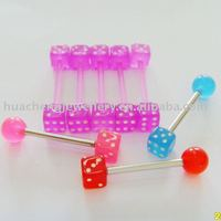body piercing jewelry flexible dice tongue barbell with mini colors