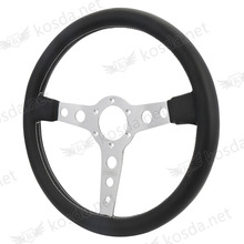 race car accessories guangzhou universal leather chrome 350mm steeringwheel with white stitch