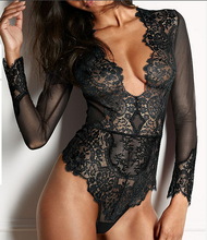 New fashion long sleeve erotic women lingerie teddy sexy ladies lace bodysuit