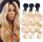 1b 613 Ombre Blonde Dark Roots Human Hair Bundles Body Wave Brazilian Virgin Hair Extension
