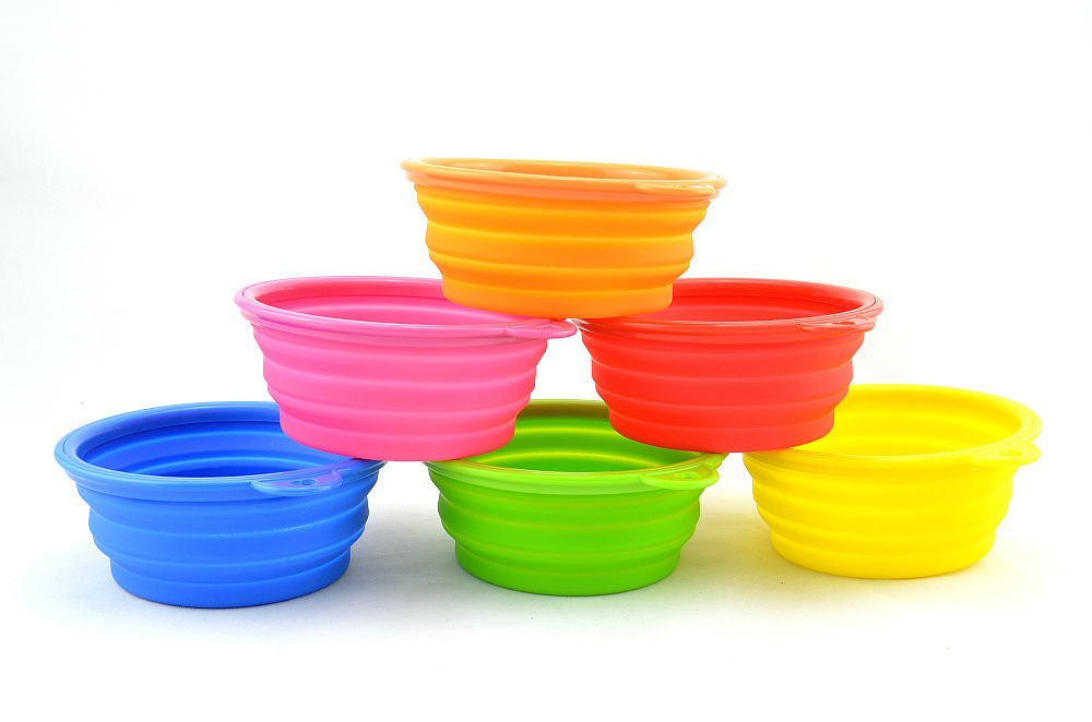 wholesale pet items personalized Collapsible silicone dog bowl Outdoor Travel Folding Bowl