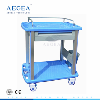 AG-CT010A3 with side rail high grade ABS medical two shelves clinical emergency trolley