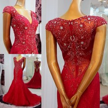 Free Shipping Charming Sexy Deep V-Neck Red Mermaid Evening Dresses 2016 Full Beaded Sequin Cap Sleeve See Through ML205