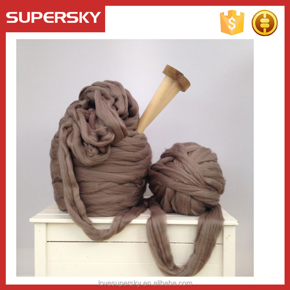 M234 100% merino wool yarns hand knitted wool tops Super giant yarn. Super bulky Merino Extreme arm knitting blanket kit 66s.
