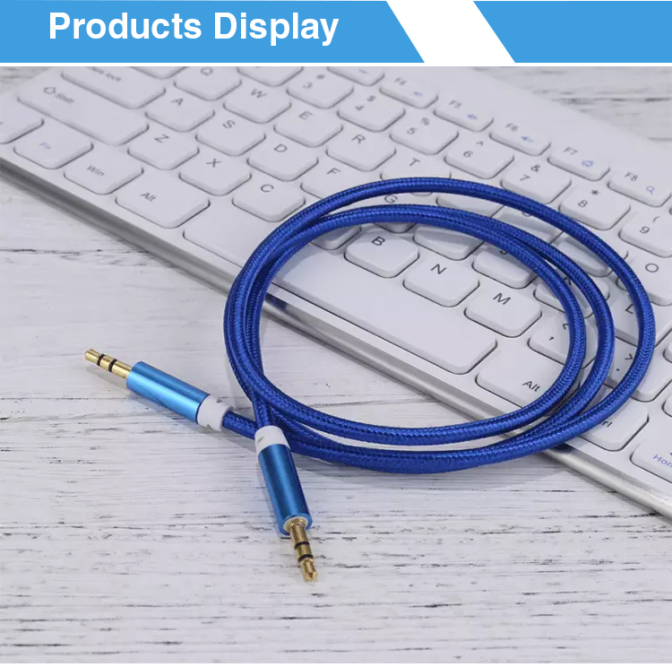 Aluminum alloy male on the car audio cable weaving cable 3.5 headset recording aux audio cable