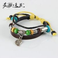top brand jade bead leather bracelet