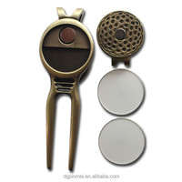 Bulk Promotional Custom logo Metal Blank Divot Tool Golf Ball Markers For Sublimation