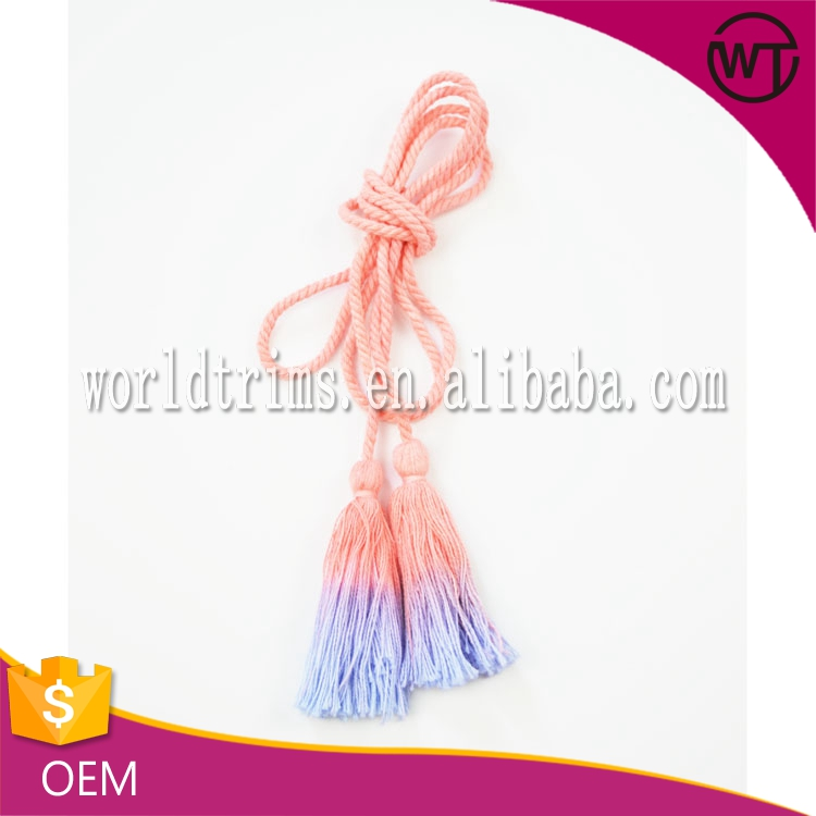 Wholesale bulk tie dyeing drapery cord cotton fringe tassel for curtain