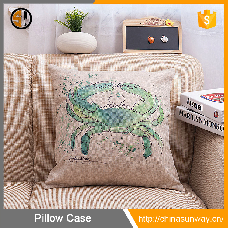 Manufacturers Direct Supply Small Moq Cotton And Linen Pillow Case Home Decor Sofa Sea Animal Pattern Cushion Cover Green Crab