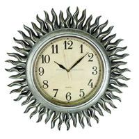 Sun shaped home decor fancy plastic wall clock