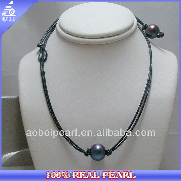 NK-00459 yiwu jewelry double leather cord knotted pearls beads neckline