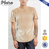 Crew Neck Plain Mens Velour Short Sleeve Longline T shirt