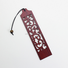 Chinoiserie Craft Flower Through Carved Wooden Bookmark