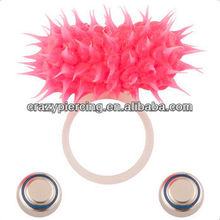 Neon Pink Koosh Glow in the Dark Vibrating Non-Piercing Tongue 316l Stainless steel Barbell body piercing jewelry