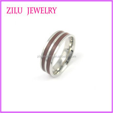 Hot Sale Cheap Fashion Jewelry 316l Stainless Steel Wood Inlay Ring Wholesale