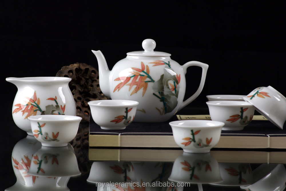 8pcs super white fine porcelain tea set 18 made in Royal Ceramics