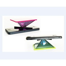 Top quality PET film portable projector 3d Holographic Display Pyramid Transparent mini Holographic