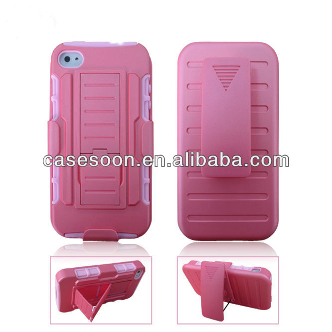 Mobile Phone Hybird Case For Samsung S4 , Hard Case Holster Belt Clip Combo Stand For iPhone 4S 4
