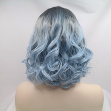 Reliable Wigs Factory Grey Ombre Blue Short Bob Lace Front Synthetic Wig