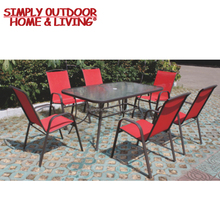 7 Piece Sling Patio Dining Table Set Garden Furniture with Glass Topped Table Chairs Stackable Outdoor