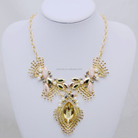 glittering gold looking alloy crystal chain statement necklace