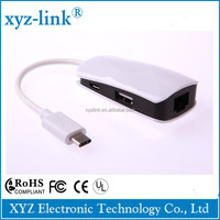 Bulk buy from china TYPE C usb 3.1 TO 2-PORT USB 3.0 HUB NETWORK SERVER For Macbook Air Nokia N1
