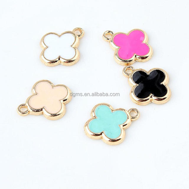 fashion colorful alloy material four leaf clover charms pendant