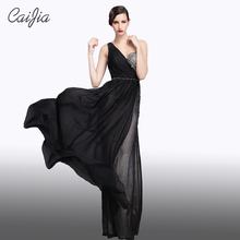 CAIJIA Elegant Black One-Shoulder Beading Ruched Evening Dress Women