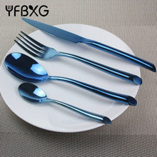 hot sale good quality luxury royal hotel colored flatware set blue gold plated coating stainless steel cutlery set