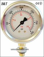 63mm 0-200 bar/0-3000 psi stainless steel oil filled wika pressure gauge