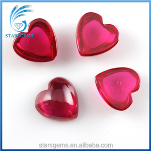AAA Quality Good Polished Heart Shape Cabochon Synthetic Red Ruby Gemstones in Cheap Price