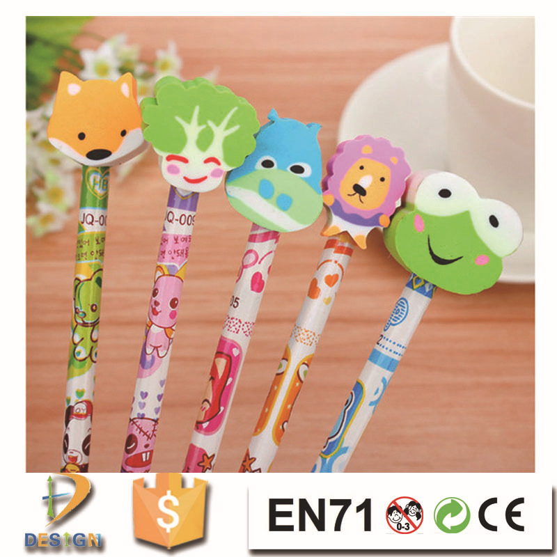 YIWU Factory Direct Selling cartoon animal printing HB pencil top erasers