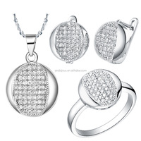 China supplier micro pave 925 silver ring sets bisuteria cz