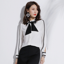 fashion chiffon long sleeve blouse & top bowknot model neck designs office blouse ladies