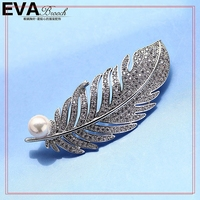 Best Popular Exquisite Clear Crystal With Freshwater Pearl Tree Leaf Brooches, Scarf Buckle