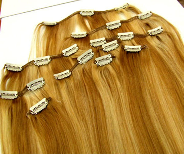 wholesale blond full head hair clip in human hair extensions free sample