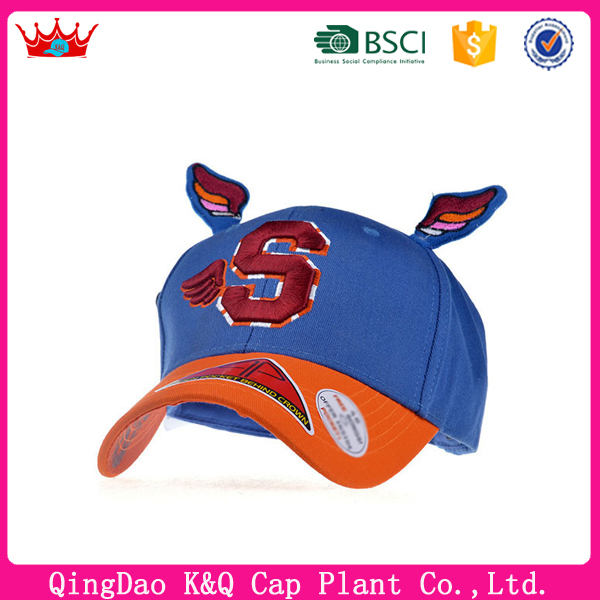 Blue Orange Cheap Trendy Kids Baseball Caps With 3D Embroidery
