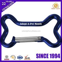 Creative blue dog bone shape metal carabiner key chain