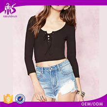 2016 hot sale plain dyed cotton summer fashion long sleeve women in tight blouses
