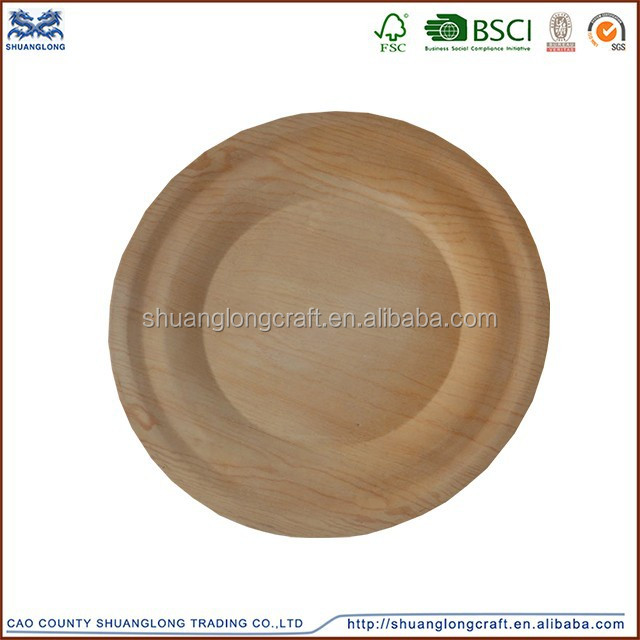 2015 new design round antique wooden plate wholesale