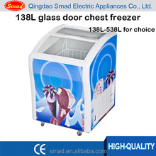 138L glass door freezer ice cream freezer display freezer