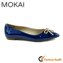 MK081-2 DARK BLUE top quality leather upper pointed toe ladies flat shoes with bow
